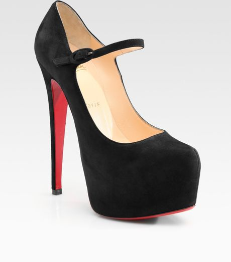 Christian Louboutin Lady Daf Suede Platform Pumps in Black - Lyst