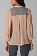 Dolan Lived in Lace Up Blouse in Pink - Lyst
