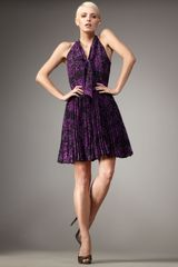 Halston Heritage Pleated Feather-print Dress - Lyst