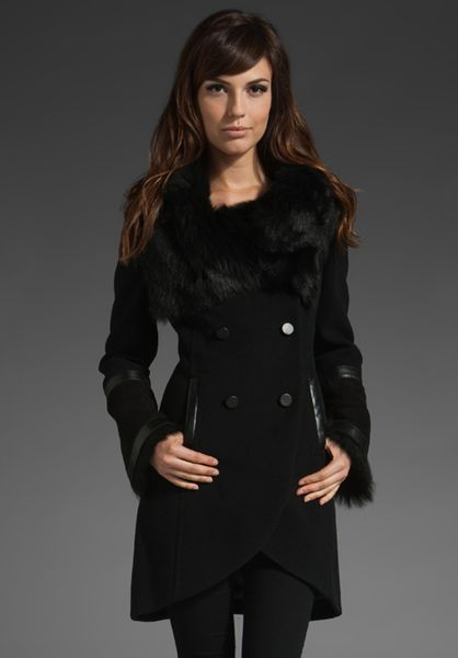 Mackage Tanya Fur Collar Coat in Black - Lyst