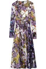Mary Katrantzou Wild Rose Printed Silk-satin Dress - Lyst