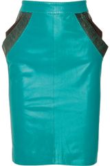 Matthew Williamson Patchwork Leather Skirt in Green (blue) - Lyst
