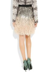 Matthew Williamson Feather and Sequinembellished Silk Skirt in Gray (silver) - Lyst