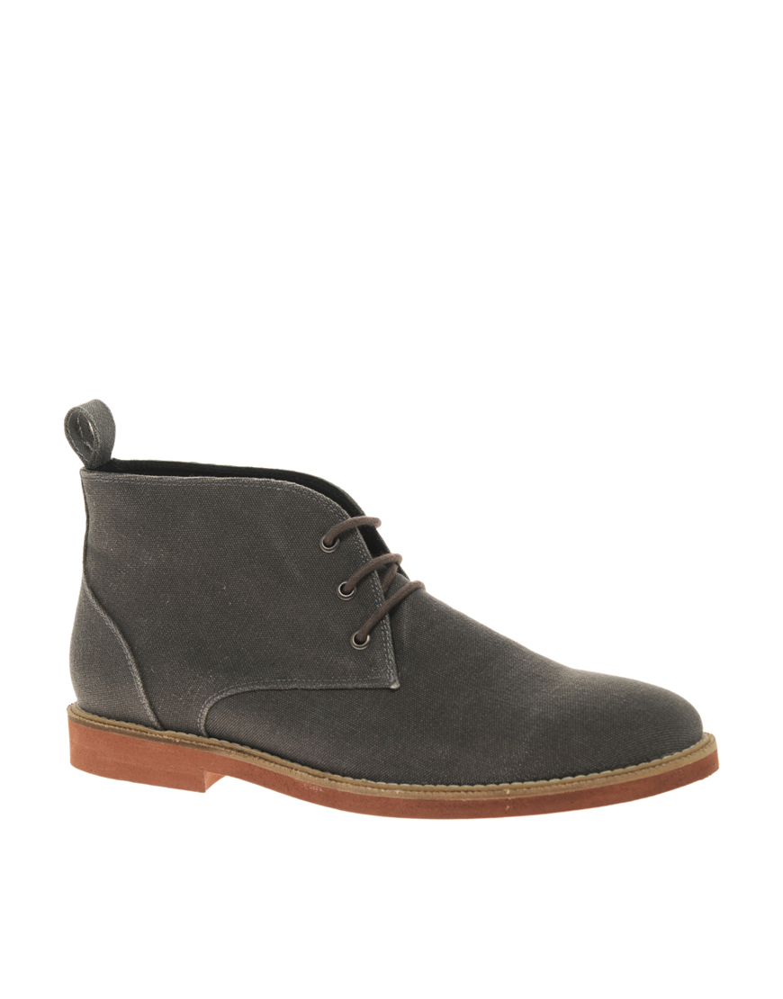 asos asos micro sole canvas chukka boots in gray for