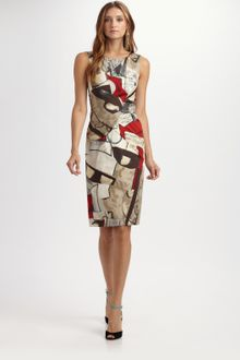 Oscar de la Renta Printed Cotton Dress - Lyst