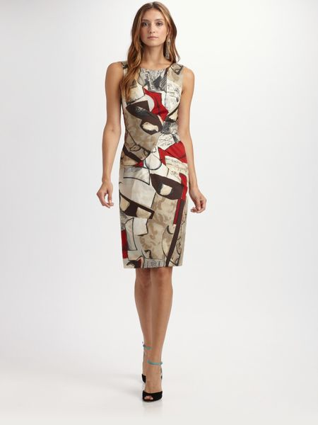 Oscar De La Renta Printed Cotton Dress in Multicolor (cherry) - Lyst