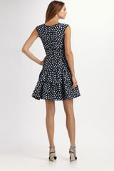 Oscar De La Renta Ikat Dot Dress in Blue (navy) - Lyst