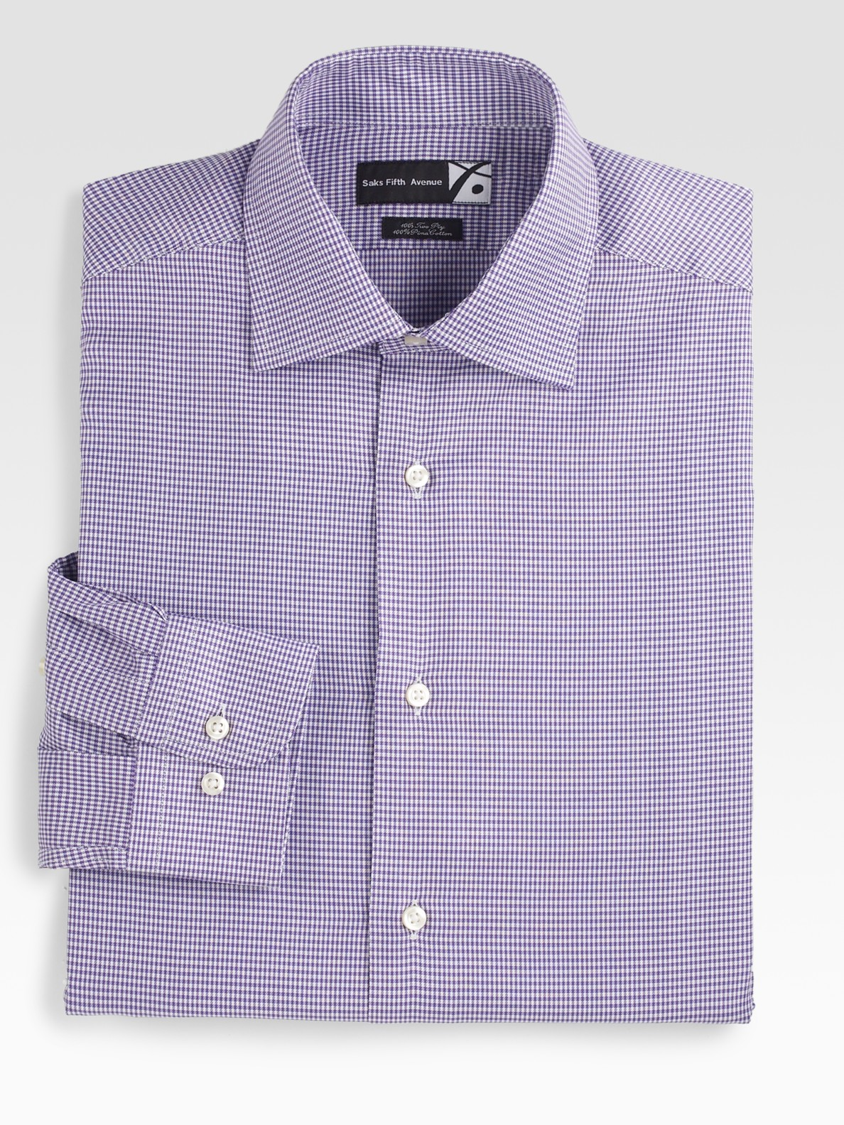 Saks Fifth Avenue Men Collection Houndstooth Dress Shirt