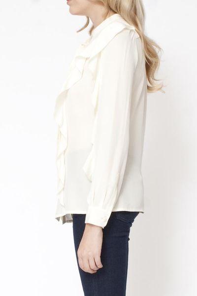 White Long Sleeve Ruffle Front Blouse 92