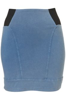 Topshop Blue Panel Bodycon Skirt - Lyst