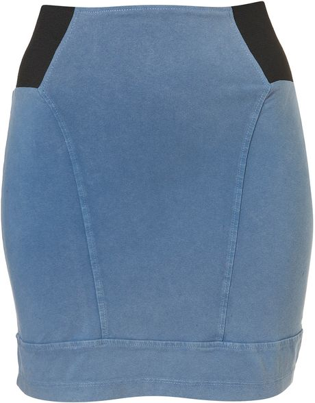 Topshop Blue Panel Bodycon Skirt in Blue - Lyst