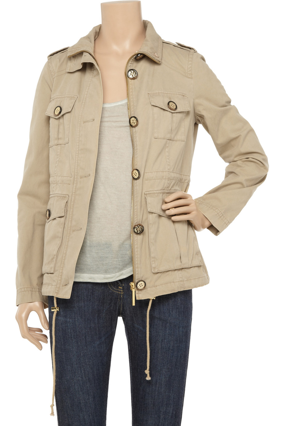 5a848aba2 Tory Burch Sacher Cotton-twill Utility Jacket in Natural - Lyst