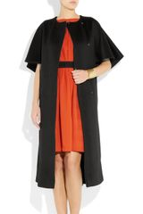 Vionnet Collarless Capesleeved Wool Coat in Black - Lyst