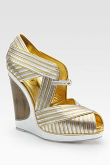 Yves Saint Laurent Metallic Leather Peep-toe Wedge Sandals - Lyst