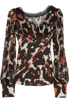 Zac Posen Printed Draped Silk Blouse - Lyst