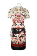 Mary Katrantzou Viscose and Silk Blend Velvet All Over Multicolored Digital Print Short Sleeves Dress - Lyst