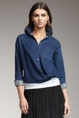 Vince Denim Blouse - Lyst