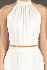 Saint Laurent Chain Detail Jumpsuit in White - Lyst