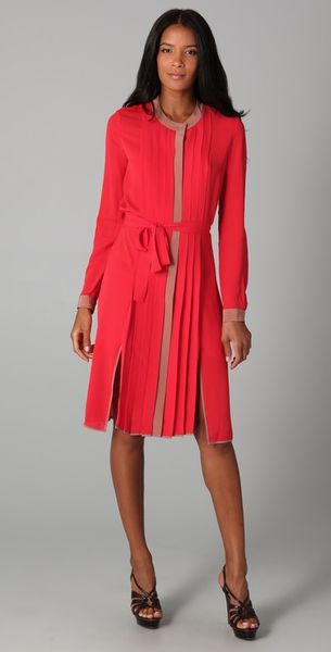 Bcbgmaxazria Cambria Shirt Dress in Red (flame) - Lyst
