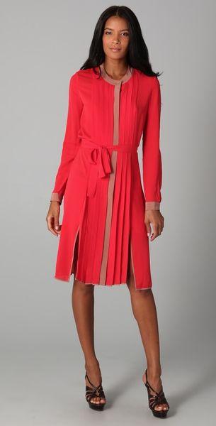 Bcbgmaxazria Cambria Shirt Dress in Red (flame)
