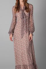 RED Valentino Long Sleeve Floral Maxi Dress - Lyst