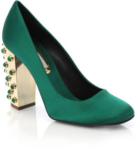 Stella Mccartney Green Satin Shoes in Green - Lyst