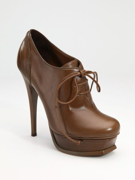 Yves Saint Laurent Ysl Tribute Laceup Ankle Boots in Brown (tobacco) - Lyst