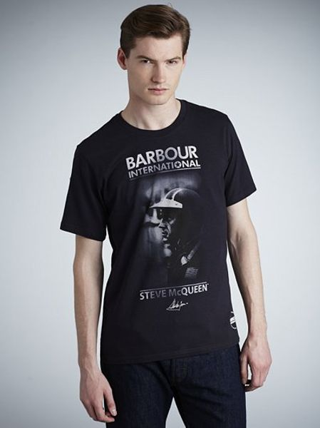 barbour steve mcqueen collection zone t shirt navy in blue. Black Bedroom Furniture Sets. Home Design Ideas