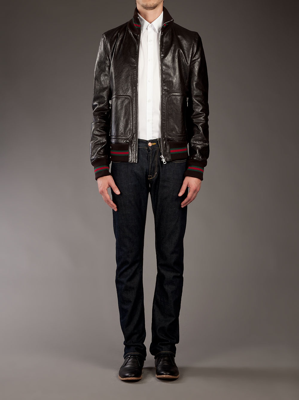 387969388d3 Gucci Leather Jacket in Black for Men - Lyst