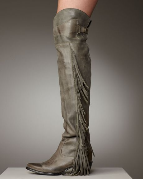 Ash Leather Fringe Boot in Gray