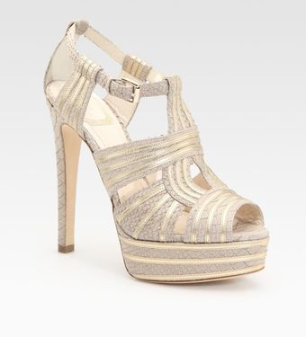 Dior Python Print and Leather Platform Sandals - Lyst