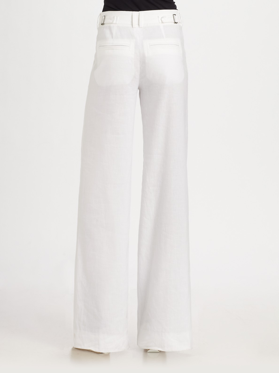 Vince Stretch Linen High-waisted Wide-leg Pants in White | Lyst