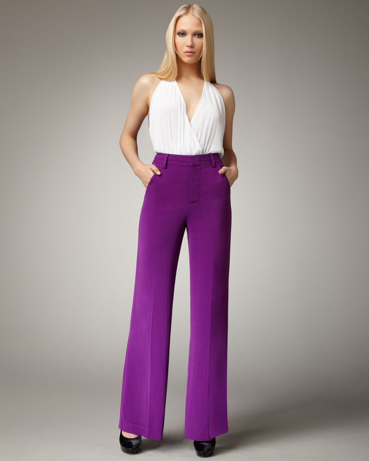 Alice   olivia High-waisted Wide Leg Pants in Purple | Lyst