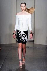 Donna Karan New York Spring 2012 Black and White Tribal Print Skirt