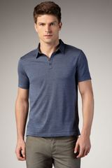 John Varvatos Shoulder-detail Polo, Officer Blue - Lyst