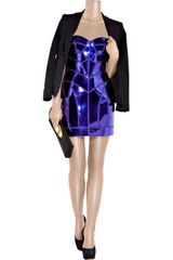 Versace Metallic Patentleather Paneled Mini Dress in Purple - Lyst