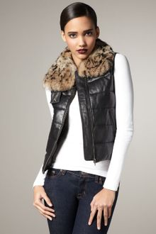 What Goes Around Comes Around Page Fur-collar Puffer Vest - Lyst