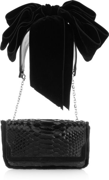 Christian Louboutin Artemis Glossedpython Shoulder Bag in Black - Lyst