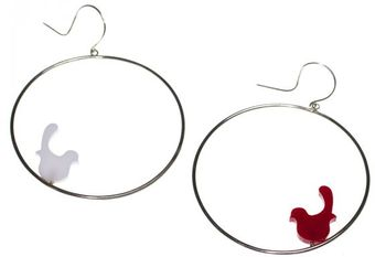 Emma Guest Jewellery Silver Hoop Earrings - Red & White Birds - Lyst