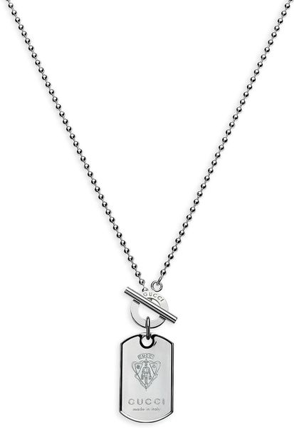 Gucci Dog Tag Necklace with Engraved Gucci Crest in Silver for Men - Lyst