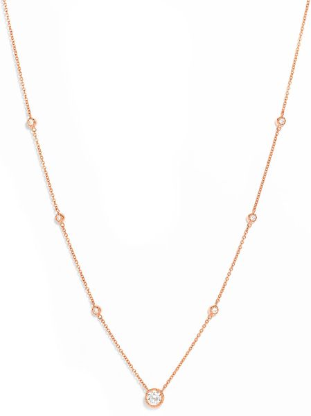 Kwiat Diamond Solitaire Necklace in Gold (rose gold) - Lyst