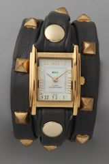 La Mer Collections Studded Wrap Rectangle Watch Black in Black (grey) - Lyst