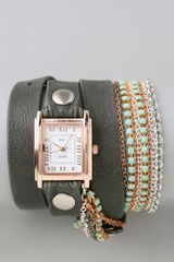 La Mer Collections Turquoise Crystal Chain Wrap Watch - Lyst