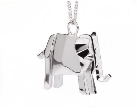 Origami Jewellery Necklace Elephant in Silver (elephant) - Lyst
