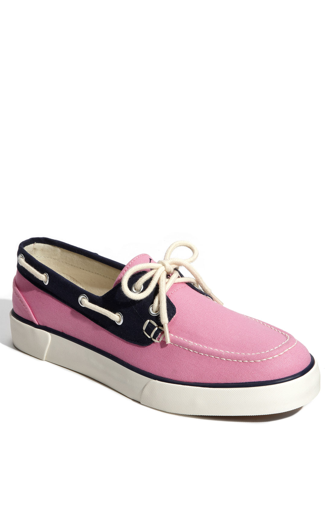 polo ralph lander boat shoe in blue for pink