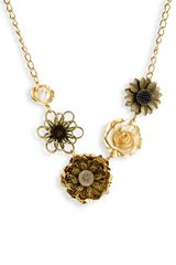 Tasha Large Metal Flowers Necklace - Lyst