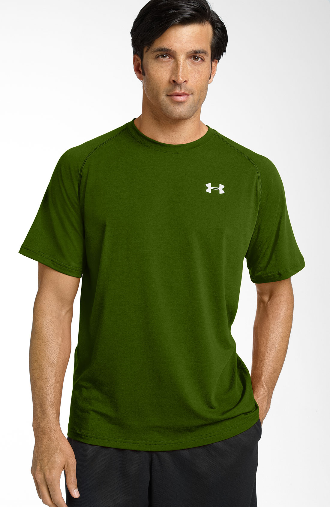 Under armour ua tech heatgear t shirt in green for men for Under armour heatgear white shirt