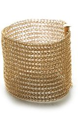 Yoola Gold Crocheted Cuff in Gold - Lyst