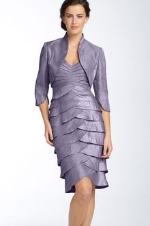 Adrianna Papell Tiered Hammered Satin Sheath Dress & Bolero - Lyst