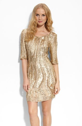 Adrianna Papell Beaded Sheath Dress - Lyst